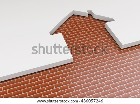 The concept of planning the construction of new housing. The outline of the house and brickwork. Construction industry. 3d illustration - stock photo