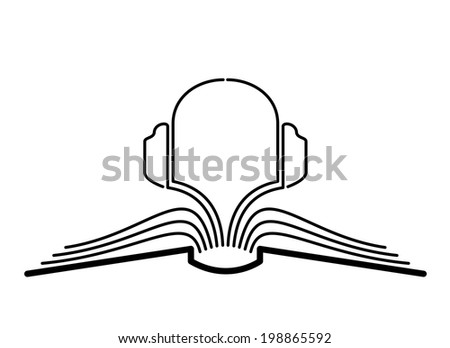 The concept of the book pages and headphones. - stock photo