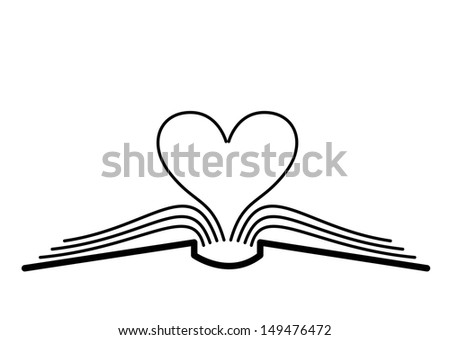 The concept of the book pages and heart. - stock photo