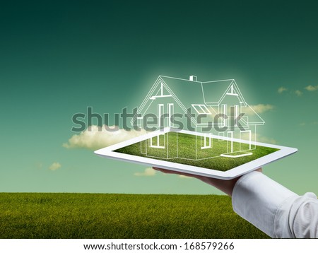 The concept of the modern engineer working in the field - stock photo