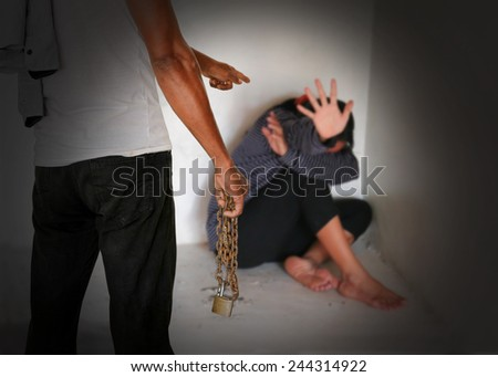 The concept of Violence against women. - stock photo