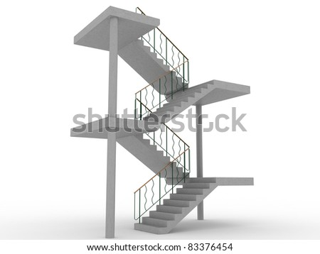 The concrete staircase with openings on a white background 2 - stock photo