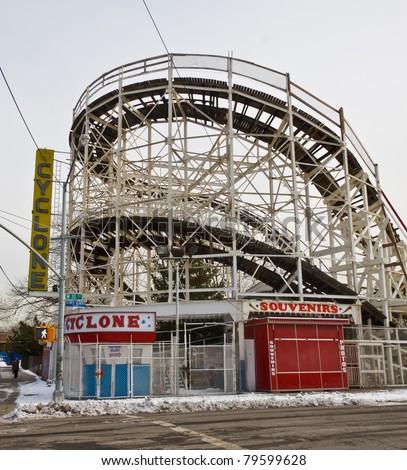 The Coney Island Cyclone in new York City - stock photo