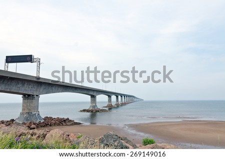 The Confederation Bridge linking New Brunswick and Prince Edward Island - stock photo