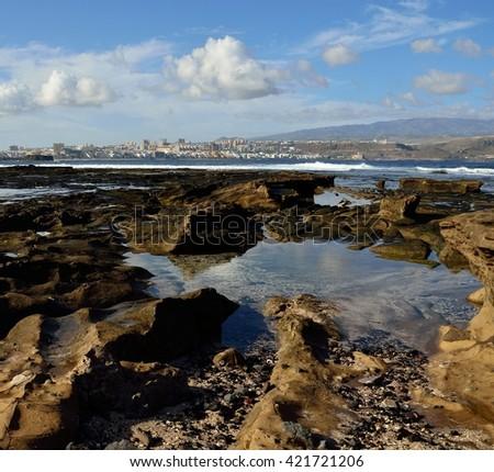 The Confital beach and Las Palmas city, Gran canaria, Canary islands - stock photo