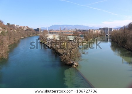 The confluence of Rhone and Arve