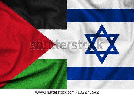 The confrontation between Israel and Palestine. Fabric Texture flags. - stock photo