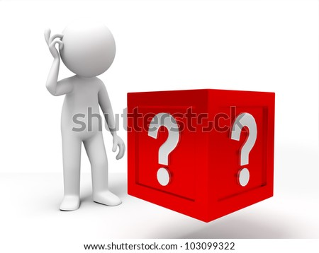The confused/3d people standing in front of the question box - stock photo