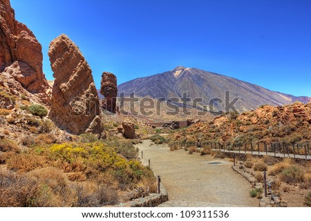 The conical volcano Mount Teide or El Teide in Tenerife is Spains highest mountain. It has featured as the location of many hollywood films and is the premier tourist attraction in the Canary islands