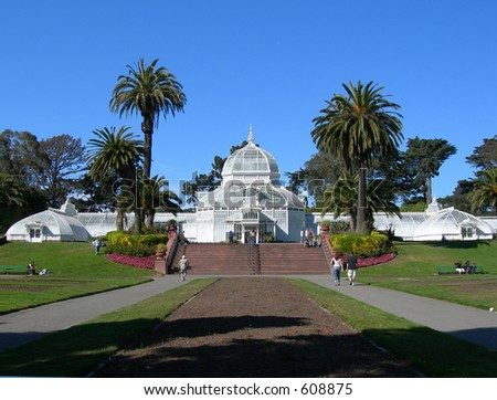 The Conservatory of Flowers in Golden Gate Park - San Francisco - stock photo