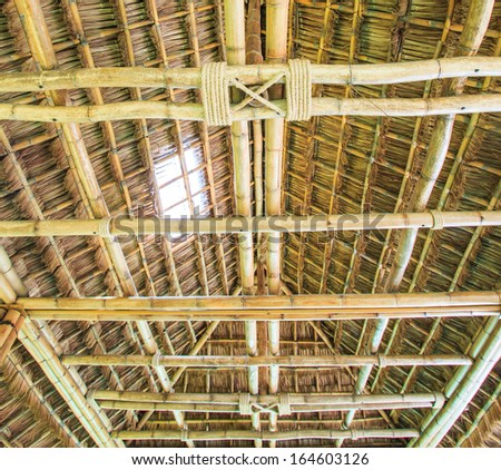 The construction traditional thailand roof from bamboo and straw