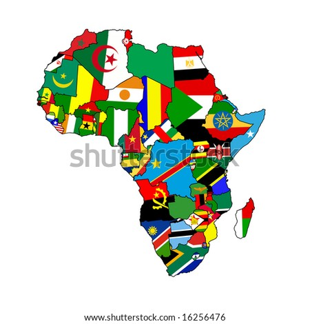 The continent of Africa made up from country shaped flags of all the african nations