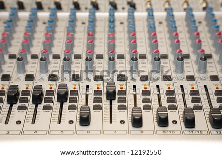 the control panel of sound mixer, close-up