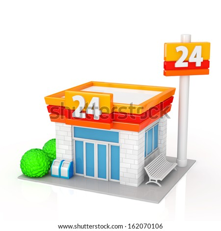 The convenience store on white background - stock photo