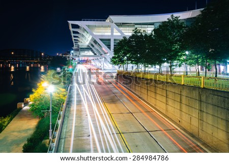 The Convention Center and Fort Duquesne Boulevard at night, in Pittsburgh, Pennsylvania. - stock photo