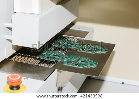 The conveyor brazing furnace. Factory for the production of chips. Technological process. - stock photo