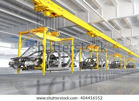 The conveyor for assembly of cars.3d render - stock photo