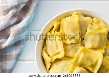 the cooked ravioli pasta in bowl - stock photo
