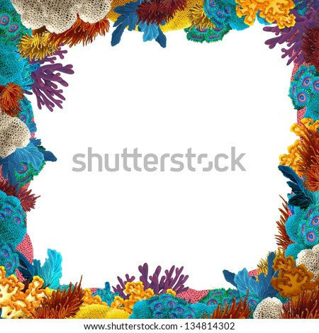 The coral reef frame border illustration for the children stock - Sea Creatures Frame Stock Photos Images Amp Pictures