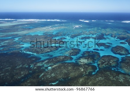 The coral reef in Abrolhos group, Geraldton, Western Australia. - stock photo