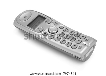 The cordless phone isolated at the white background - stock photo