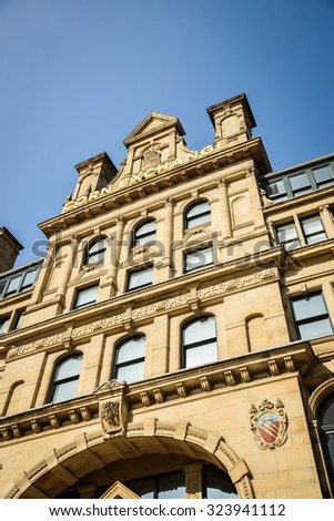 The Corn Exchange, Manchester, UK - October 4: The popularity of the Corn Exchange in Manchester on October 4th 2015 has spurred on a redevelopment process for the area. - stock photo