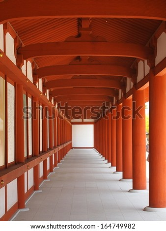 The Corridor of Yakushi-ji Temple in Nara, Japan