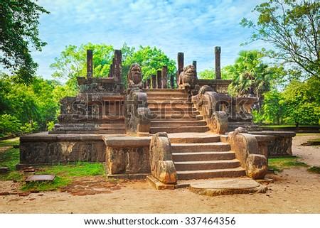 The Council Chamber in the world heritage city Polonnaruwa, Sri Lanka - stock photo