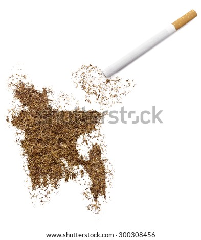 The country shape of Bangladesh made of tobacco and a cigarette.(series) - stock photo