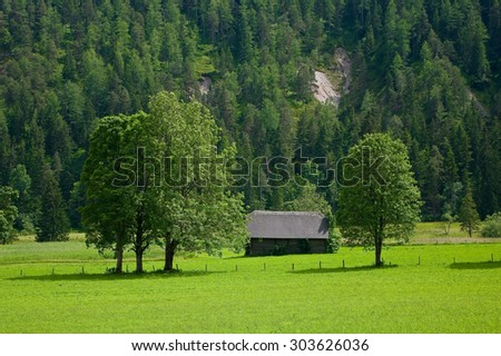 The countryside around the town of Ramsau am Dachstein, Austria.