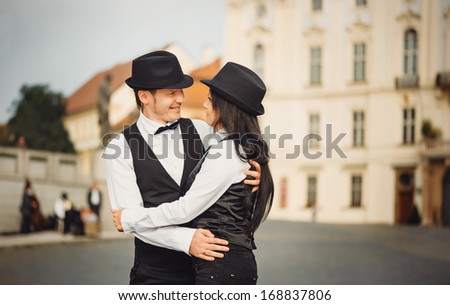 The couple of gangsters are dancing  - stock photo