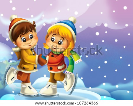 The couple of young people skating on the ice - illustrations of many associations - stock photo