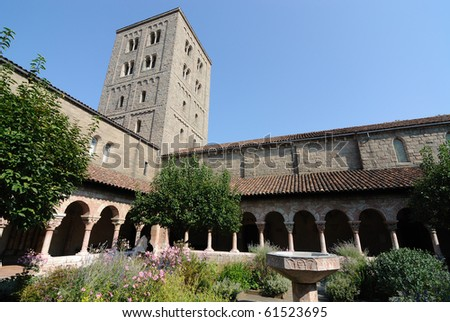 The courtyard in The Cloisters Museum of New York City. - stock photo