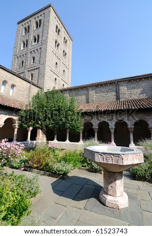 The courtyard in The Cloisters of New York City.