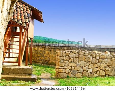 The courtyard of an ancient mountain estate. Karaite culture. Crimea. - stock photo