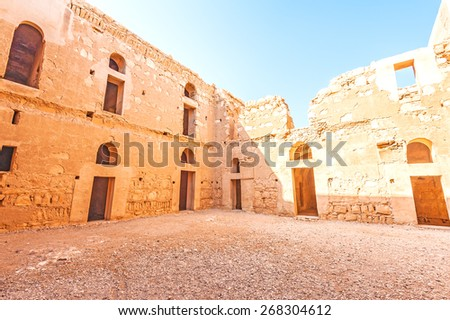 The courtyard of Qasr Kharana in present-day eastern Jordan, about 60km east of Amman and relatively close to the border with Saudi Arabia. - stock photo