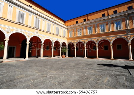 The Courtyard of the Palazzo Dell Arcivescovado in Pisa, Italy - stock photo