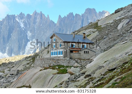 the couvercle mountain hut, high in the mont blanc massif above Chamonix and the mer de glace glacier