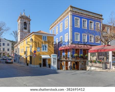 The cozy area in the old town (Foreign Text - Praca da Republica - The Republic square) - Sintra, Portugal - stock photo
