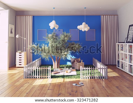 the cozy picnic place in a living interior. 3d rendering concept - stock photo