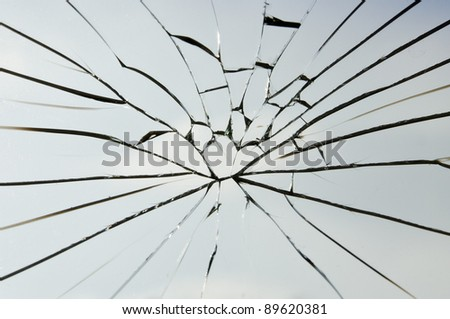 the crack laminated safety glass - stock photo