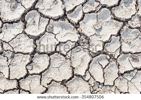 The cracked ground, Ground in drought, Soil texture and dry mud, Dry land. - stock photo