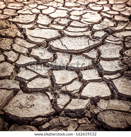 The Cracked Soil Texture in Parched Countryside - stock photo