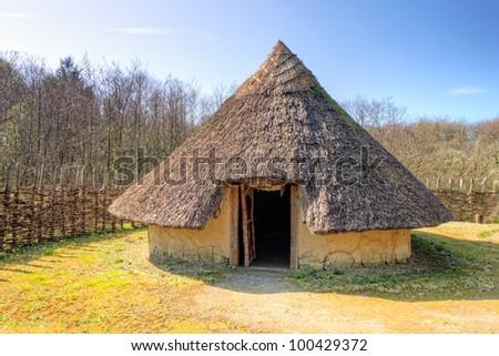 The Craggaunowen settlement in County Clare Ireland. - stock photo