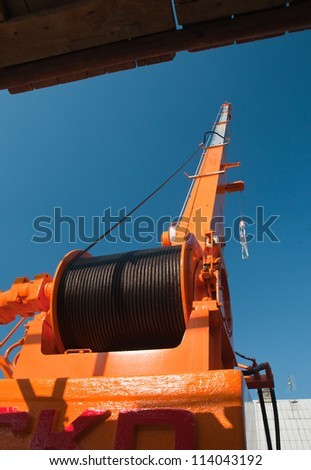 The crane - the detail of the winch - stock photo