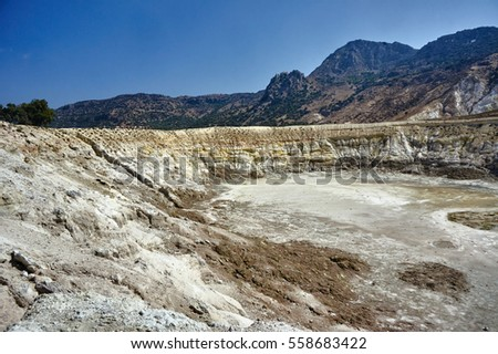 the crater of an active volcano on the island of Nisyros
