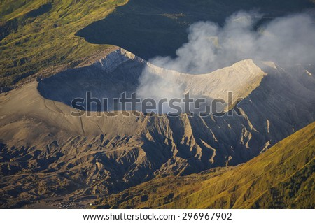 The Crater of Volcano  in Bromo Tengger Semeru National Park  - stock photo