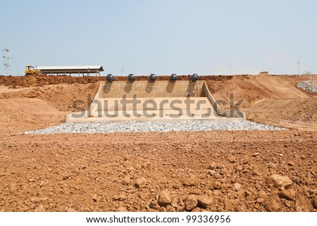 The creation of large Water Gate in Asia. To solve the flooding problem. - stock photo