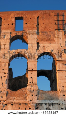 The crimson Colosseum, place of bloody hand-to-hand fight?of the Roman gladiators. Rome, Italy. - stock photo