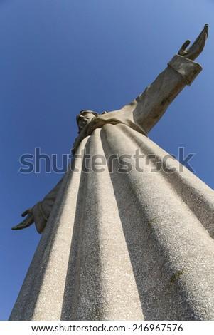The Cristo Rei  monument of Jesus Christ in Lisbon, Portugal - stock photo